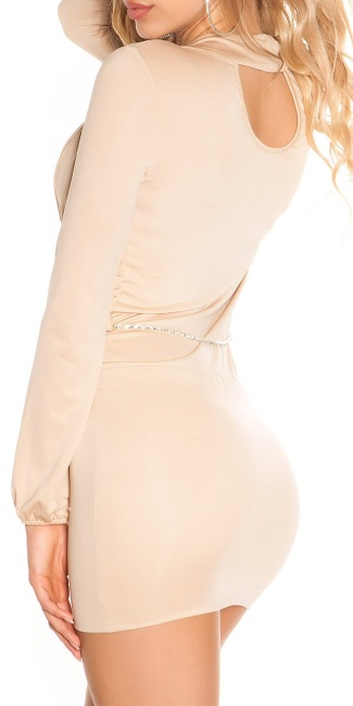 Sexy KouCla mini dress in wrap look with belt Beige