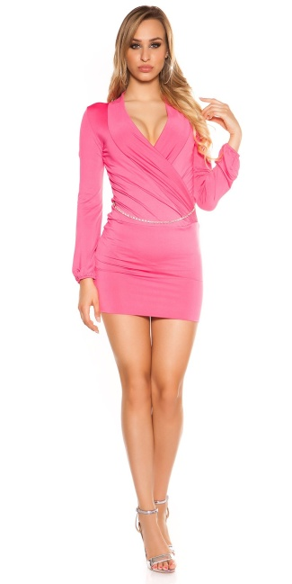 Sexy KouCla mini dress in wrap look with belt Fuchsia