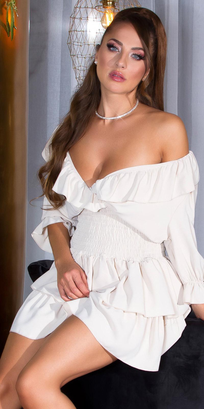 Sexy jurk met ruffled elastic band taille beige