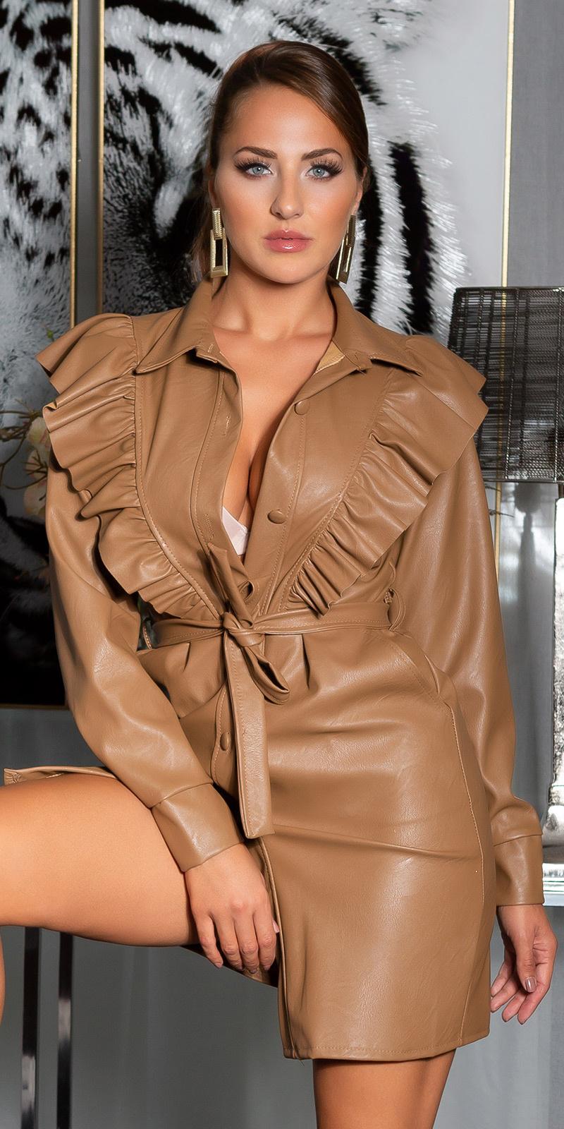 Sexy leder look frilled jurk bruin