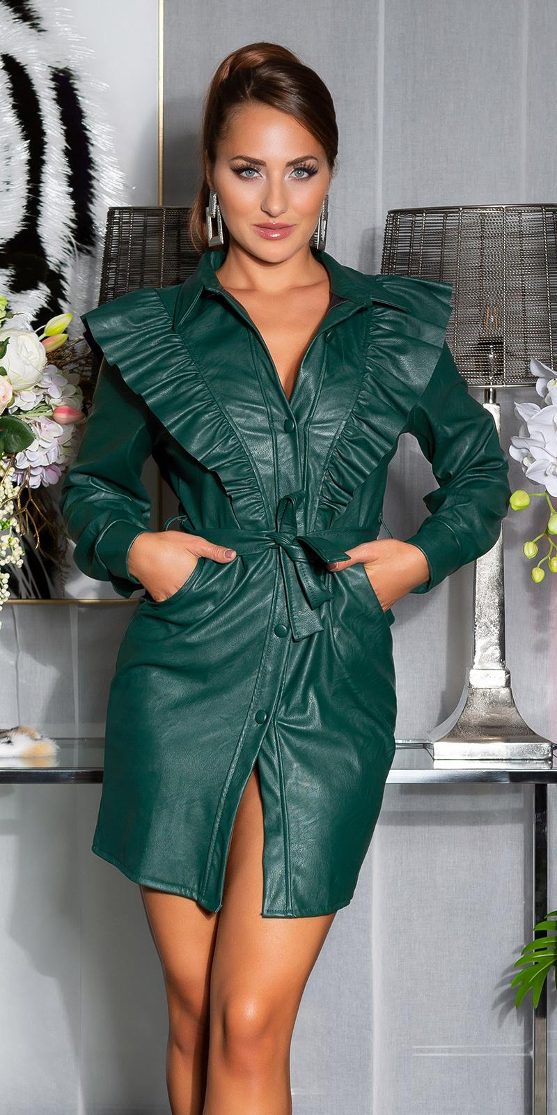 Sexy leder look jurk groen