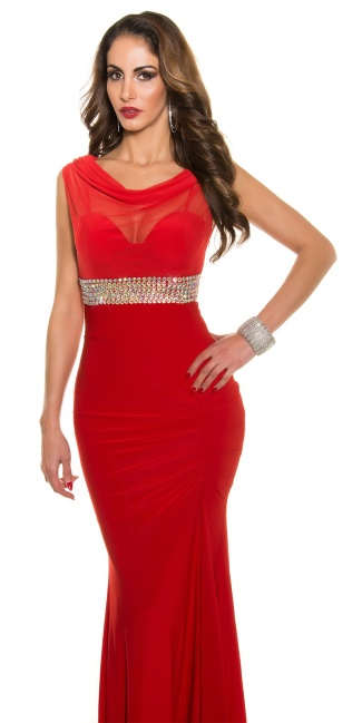 Red-Carpet-Look!Sexy Koucla Gown with Rhinestones Red