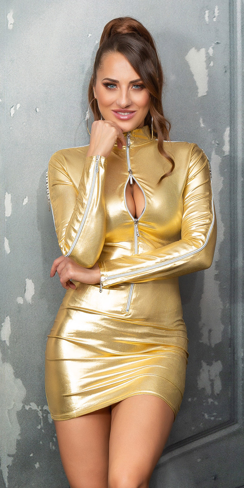 Sexy wetlook mini jurkje met ritssluitingen goud