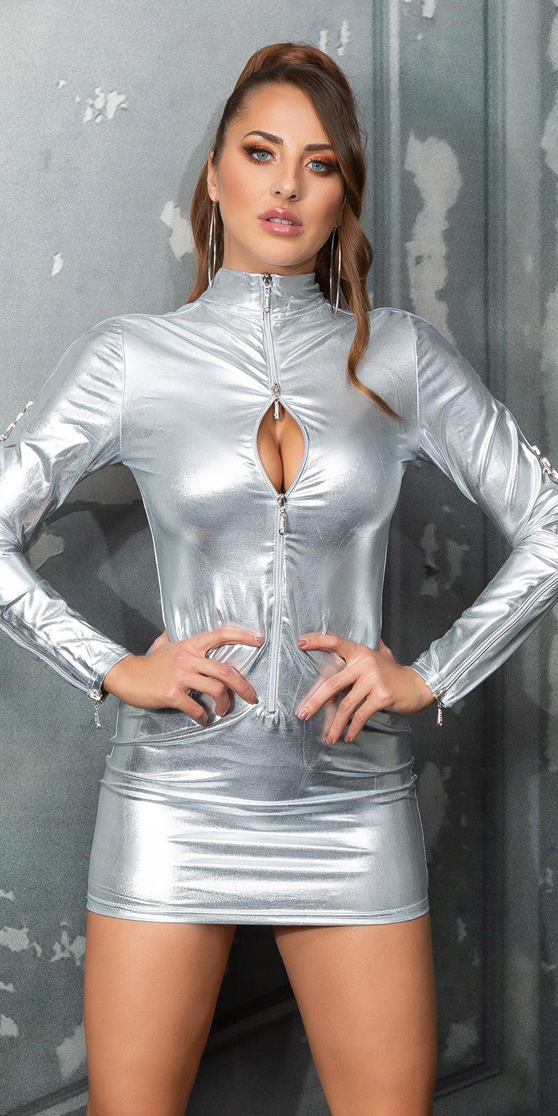 Sexy wetlook mini jurkje met ritssluitingen zilver