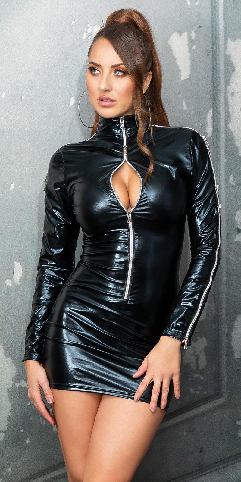 Sexy wetlook mini jurkje met ritssluitingen zwart