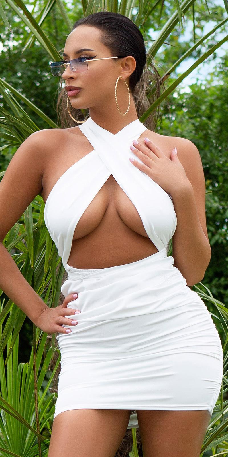 Sexy bodycon jurk om vast te binden wit