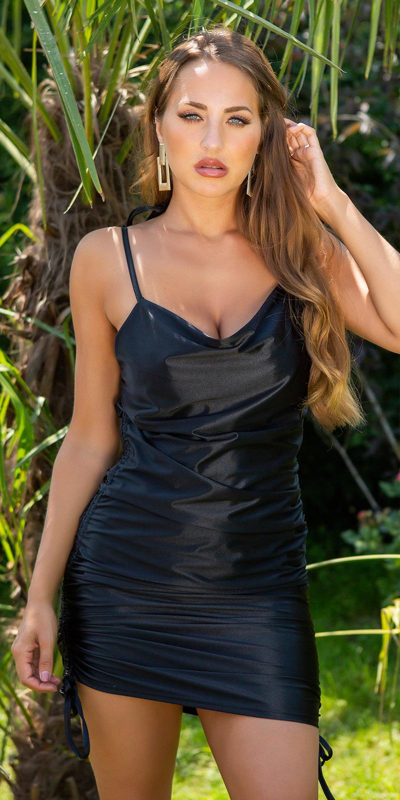 Sexy satijn-look ruffled mini spaghetti jurk zwart