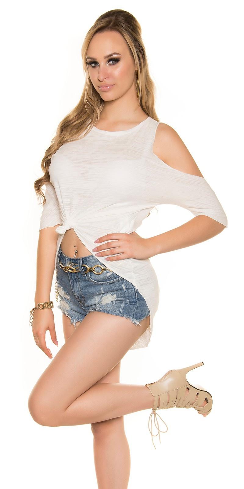 Sexy hoog-laag shirt schouder-vrij wit