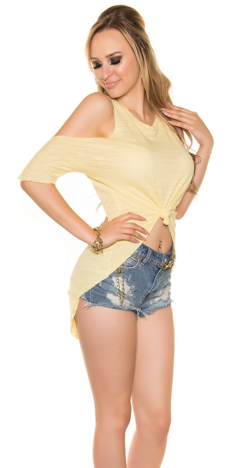 Sexy hoog-laag shirt schouder-vrij geel
