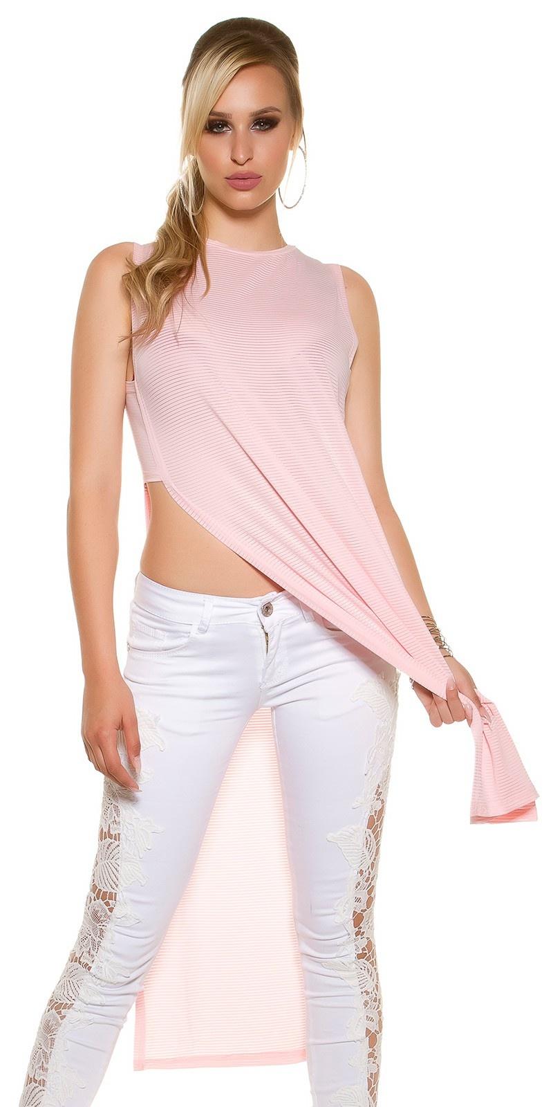 Sexy maxi lang shirt met zijkant splits zalmroze