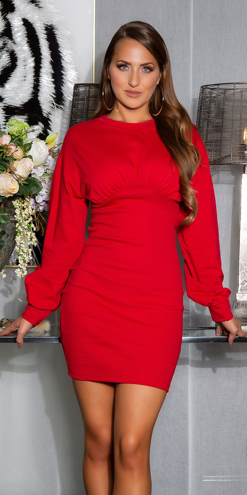 Sexy sporty bodycon jurk rood