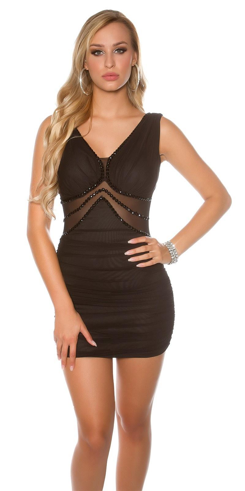 Sexy KouCla mini dress with stones and mesh Black