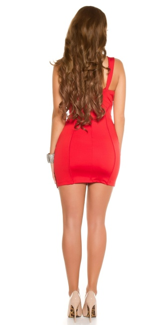 Sexy KouCla Party Mini Dress with Beaded & Stones Red