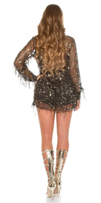Sexy KouCla Party Playsuit with Sequins Black