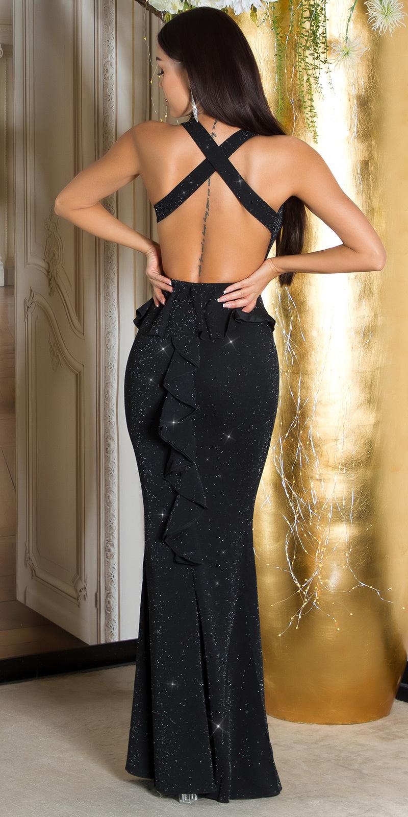 Sexy feest uitgaans glitter jurk met peplum roodzilver