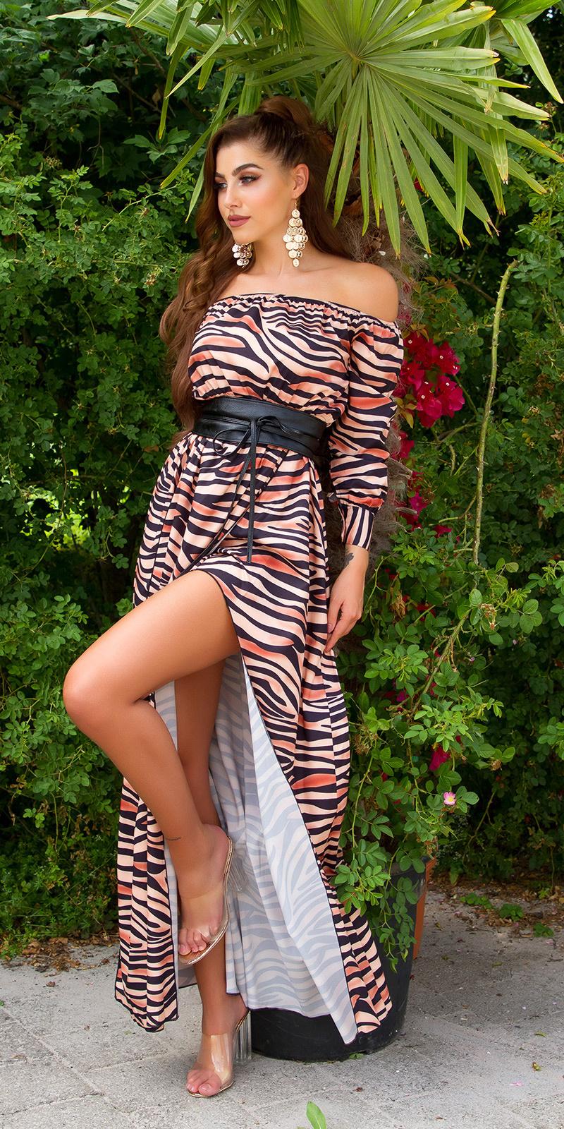 Sexy satijn-look maxijurk dieren-print zebra