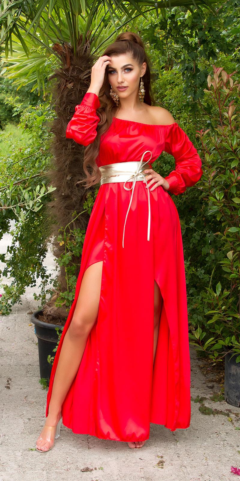 Sexy satijn-look maxijurk rood
