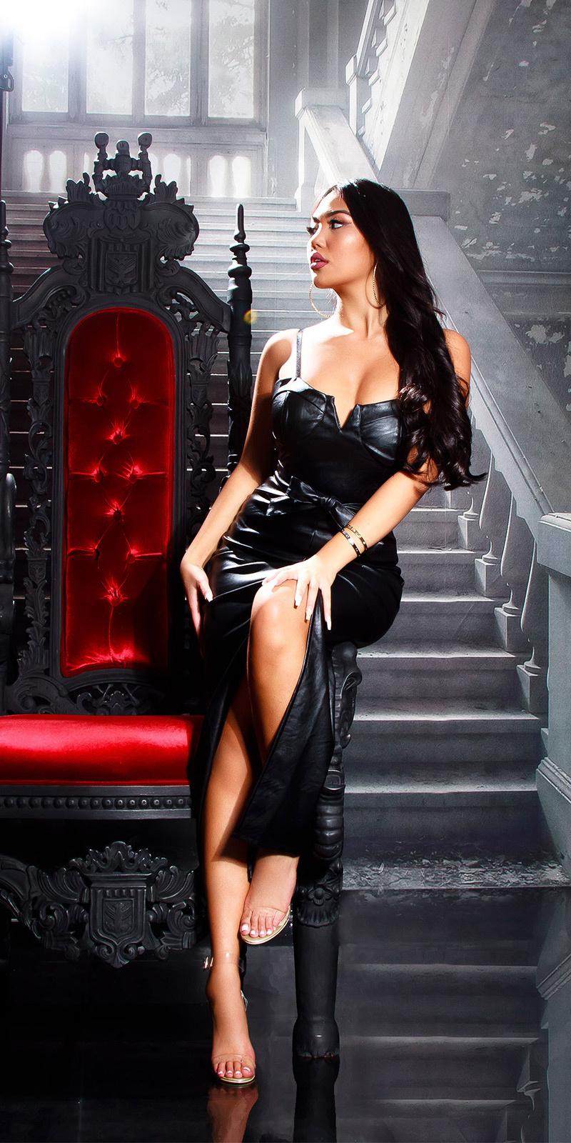 Sexy leder look maxi jurk gewatteerd zwart