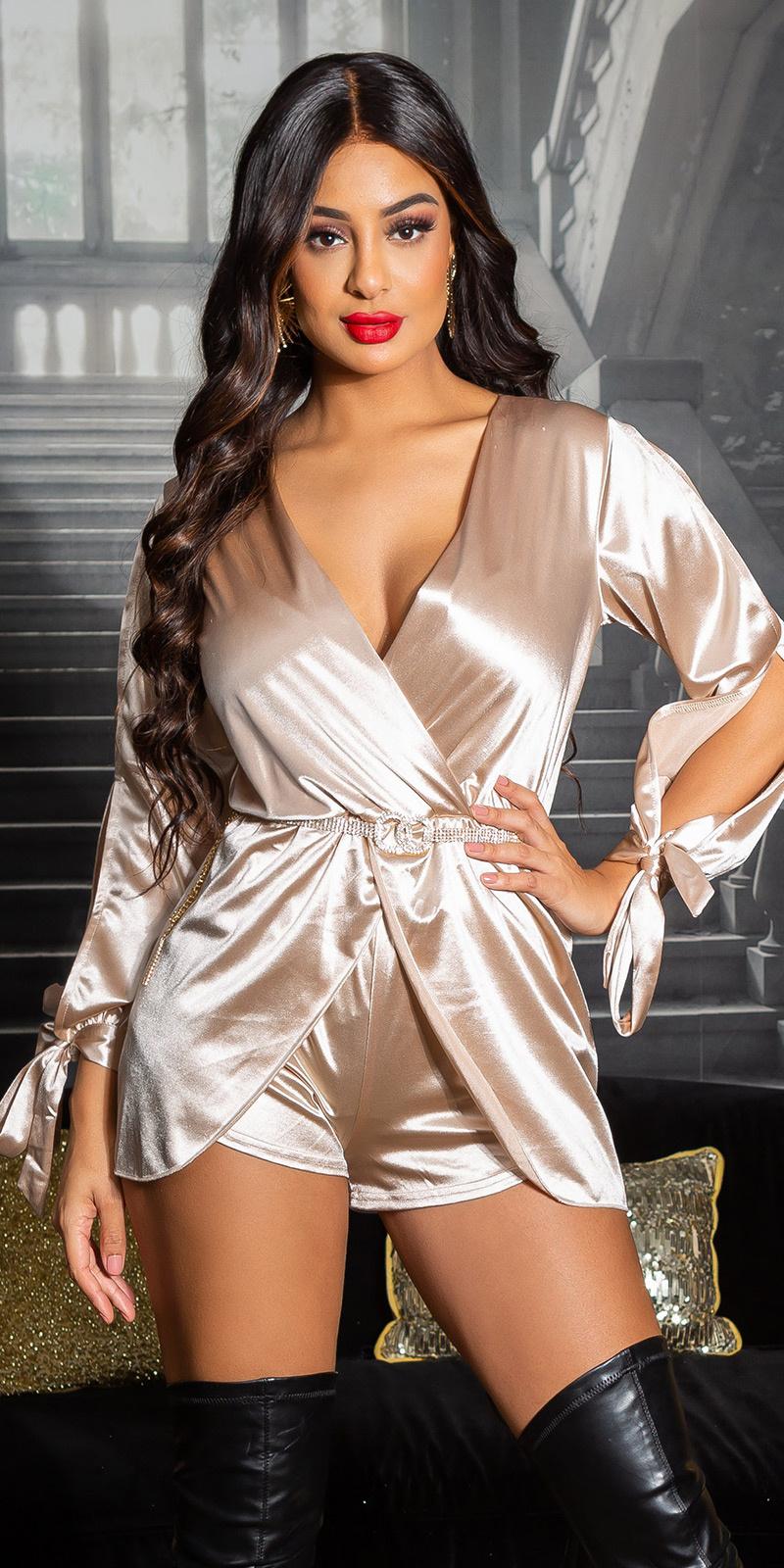 Sexy satijn look jumpsuit met split mouwen beige
