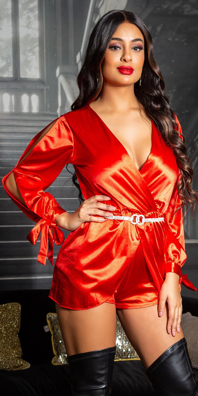 Sexy satijn look jumpsuit met split mouwen rood
