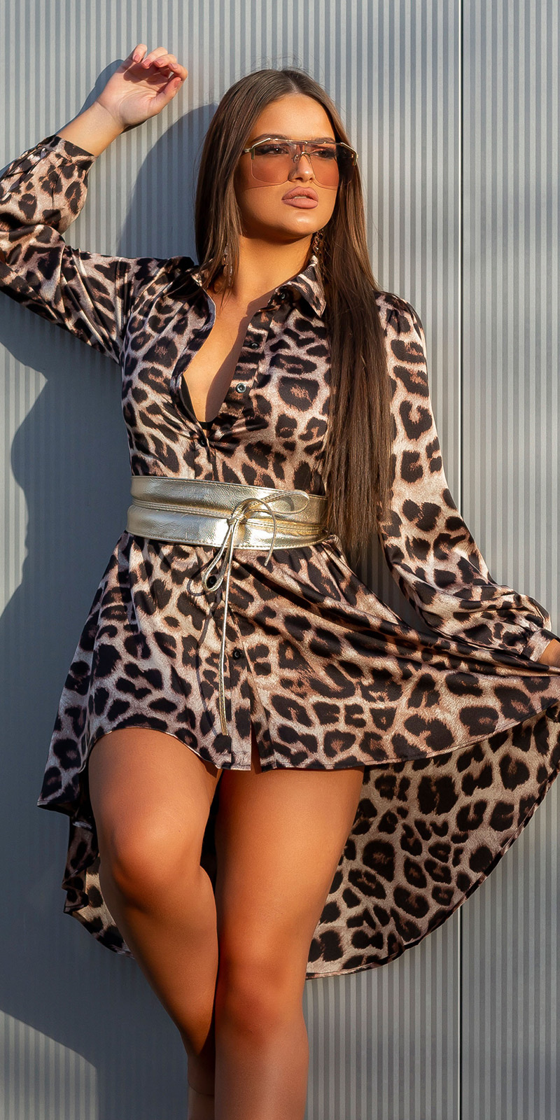 Sexy high-low silk-look jurk luipaard