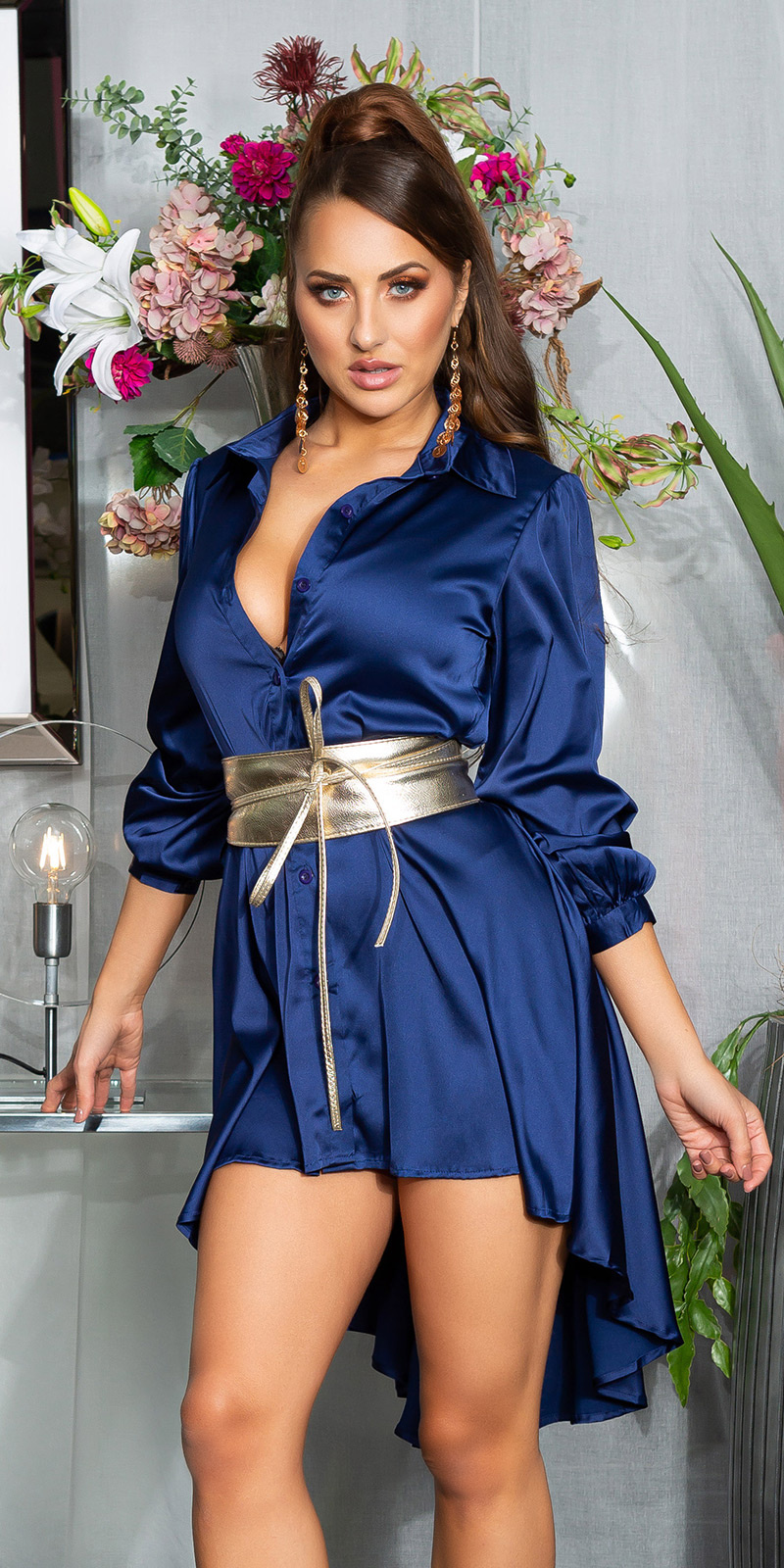 Sexy hoog-laag jurk marineblauw