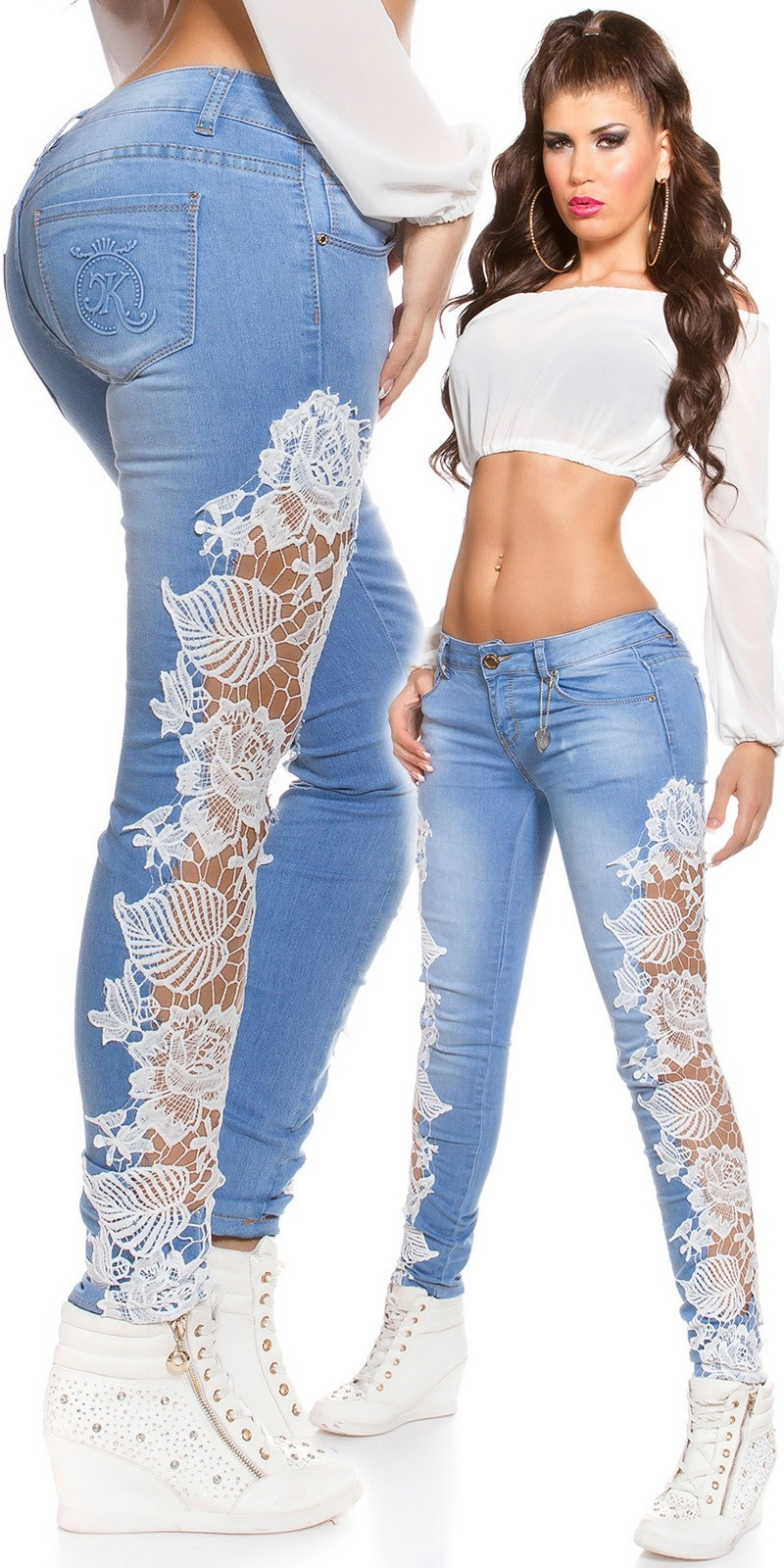 Sexy KouCla Skinny Jeans with lace Jeansblue