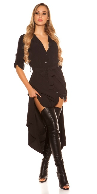 Sexy long blouse dress with button strip Black
