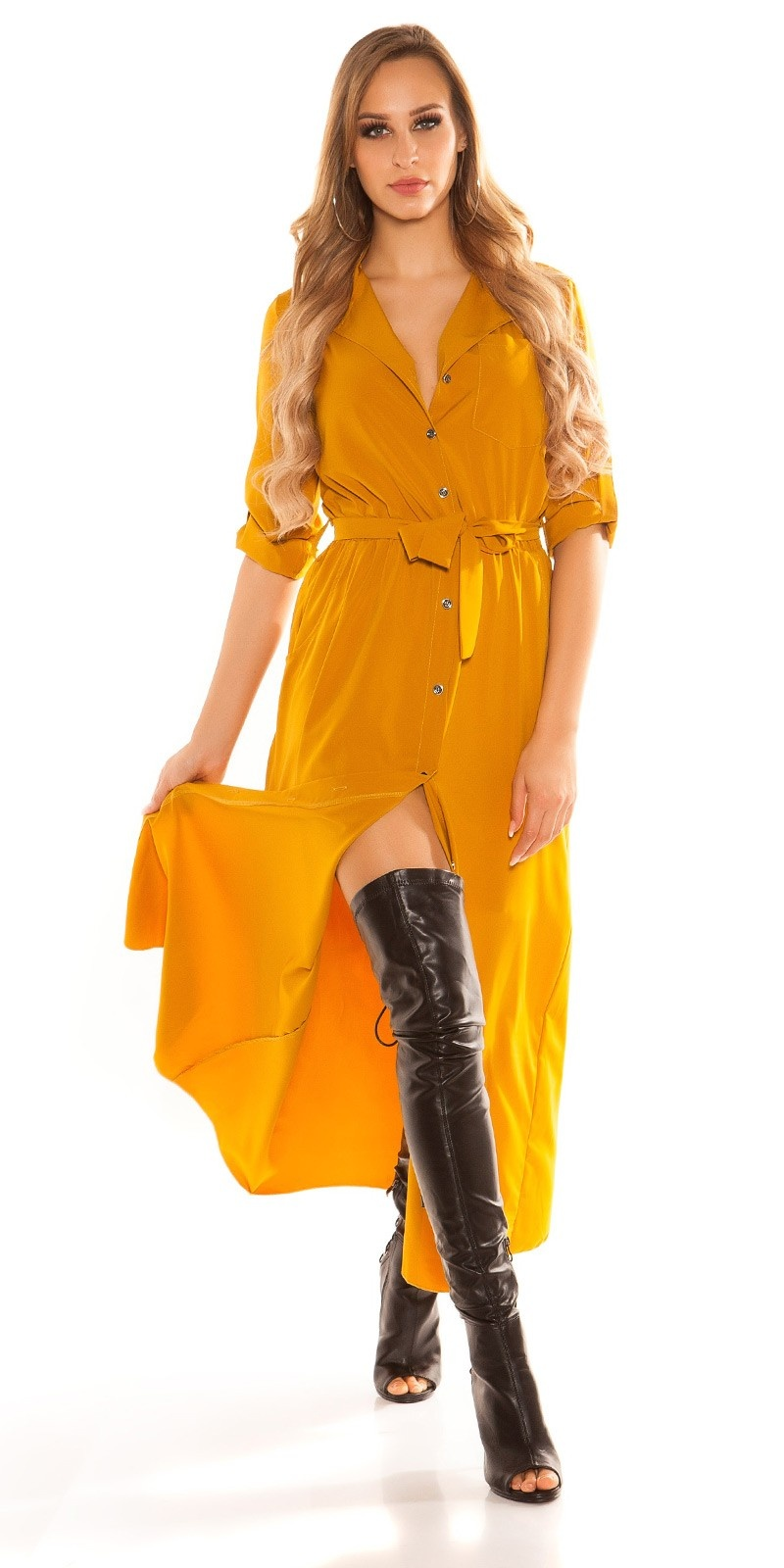 Sexy long blouse dress with button strip Mustard