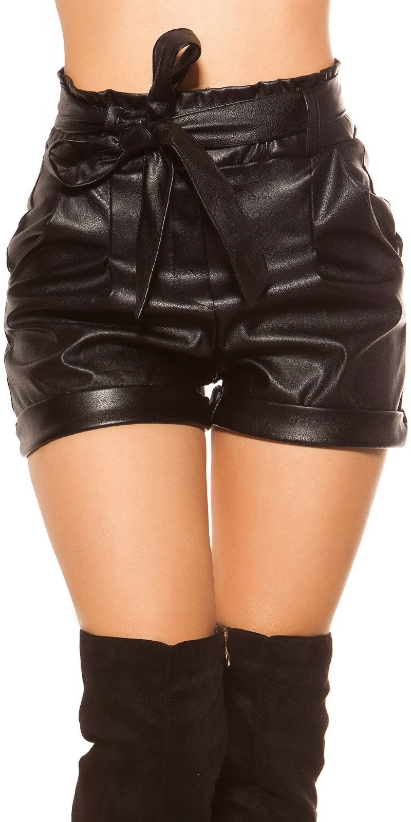 Sexy hoge taille lederlook shorts + riem gevoerd zwart