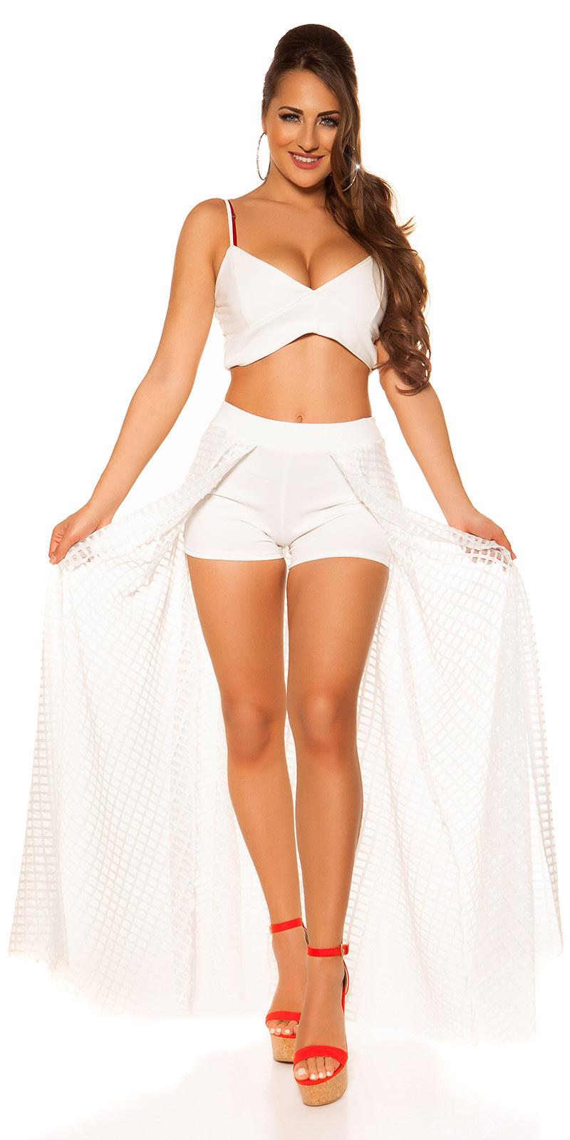 Sexy shorts met lange net rok wit