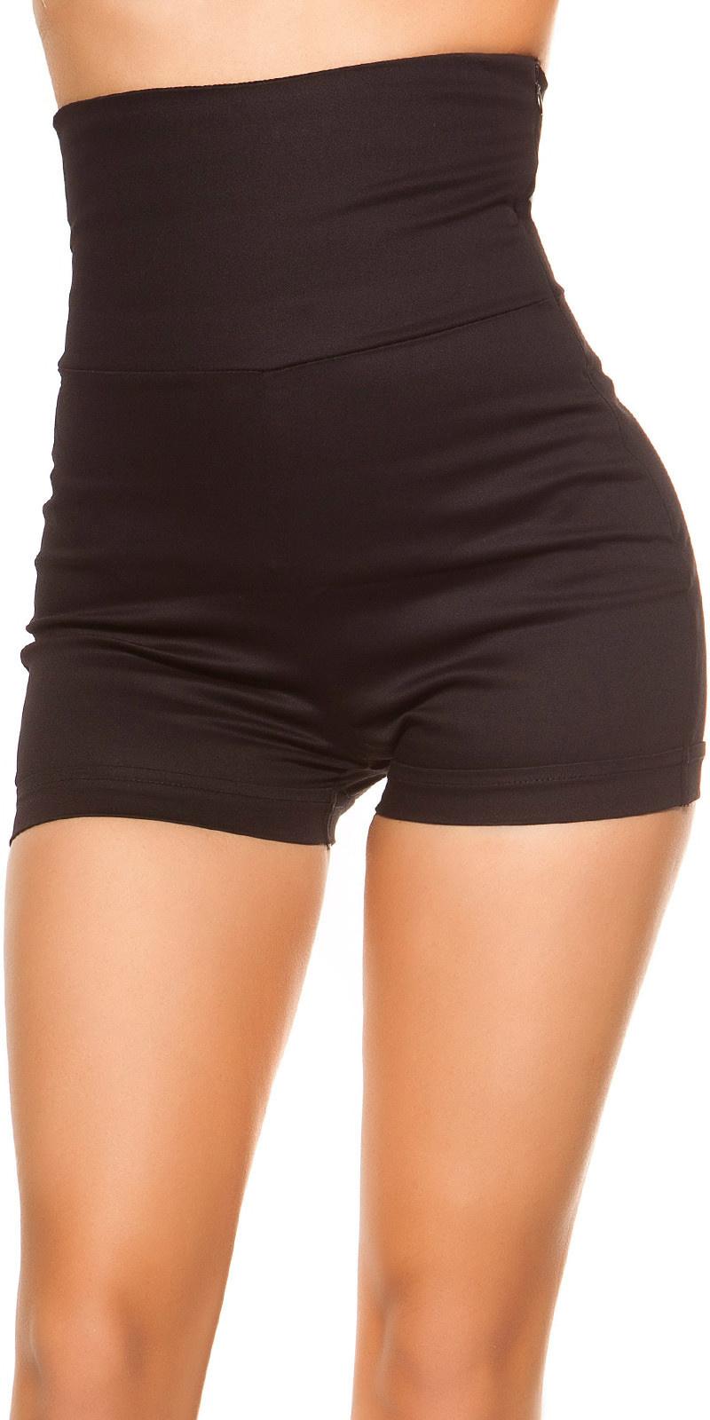 Sexy hoge taille shorts jaren 70 look zwart