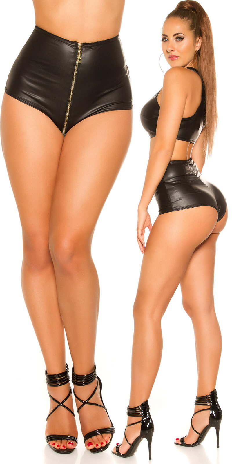 Sexy KouCla Wetlook Hotpants with Zip Black
