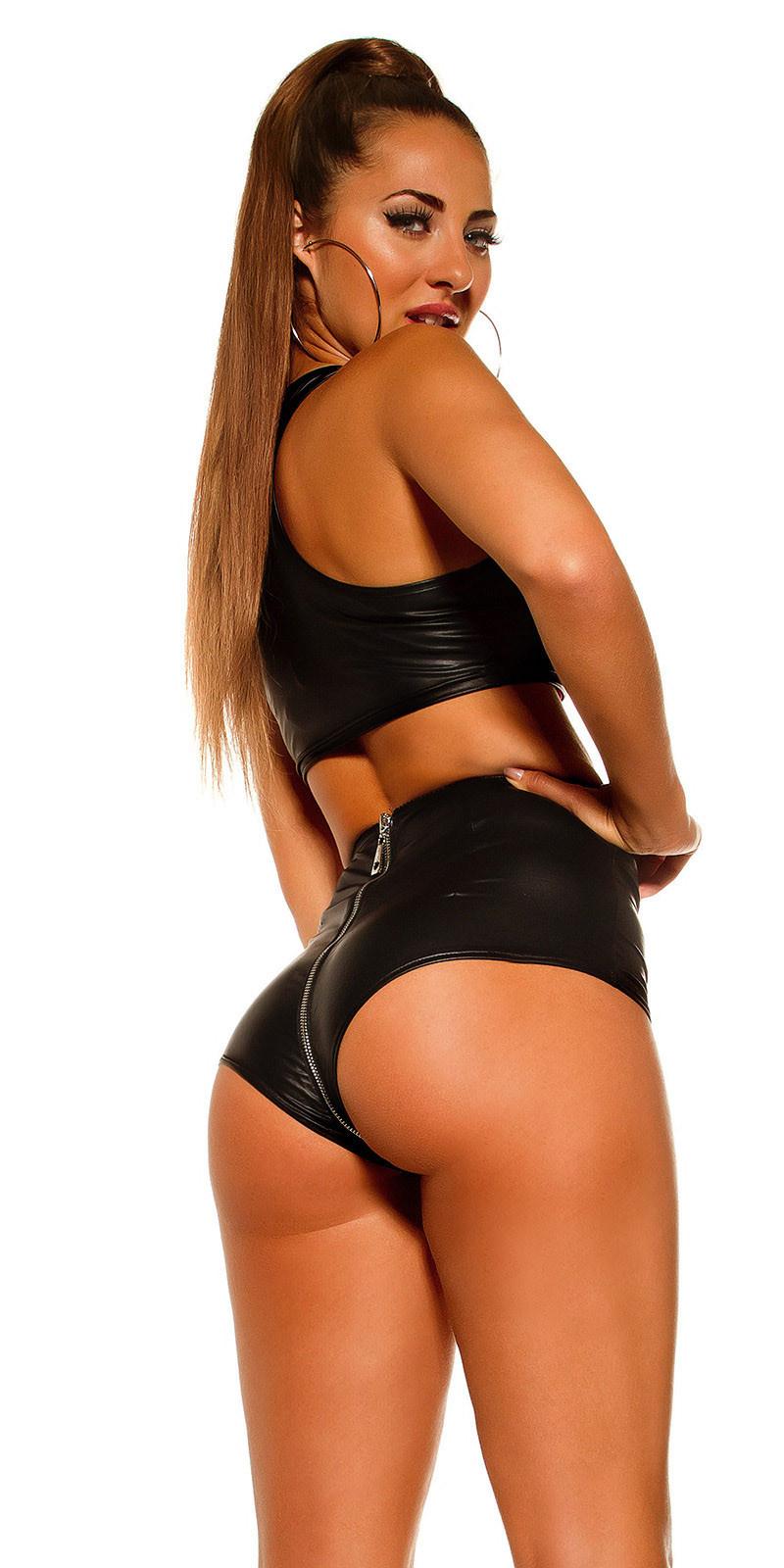 Sexy wetlook shorts doorlopende ritssluiting zwart