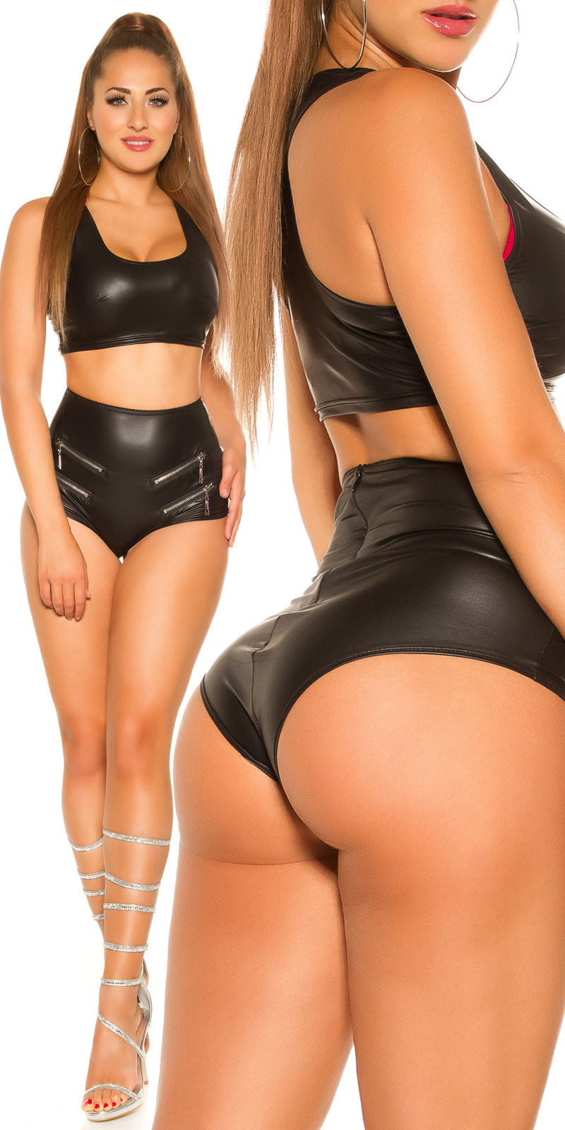 Sexy wetlook shorts met ritsen zwart