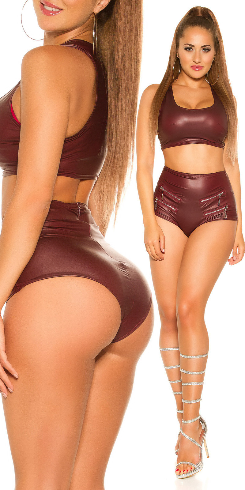 Sexy wetlook shorts met ritsen bordeaux