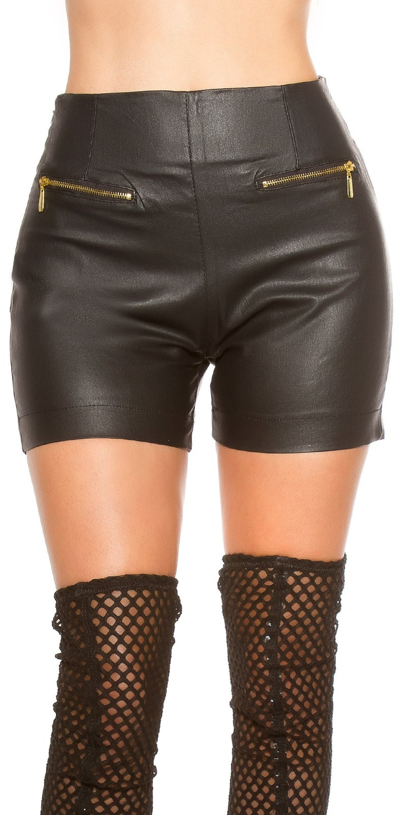 Sexy leather look Shorts with Zips Black