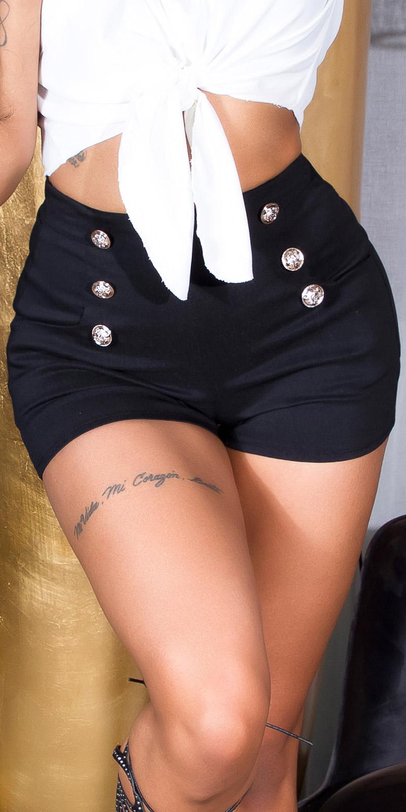 Sexy hoge taille shorts met decoratieve knopen zwart