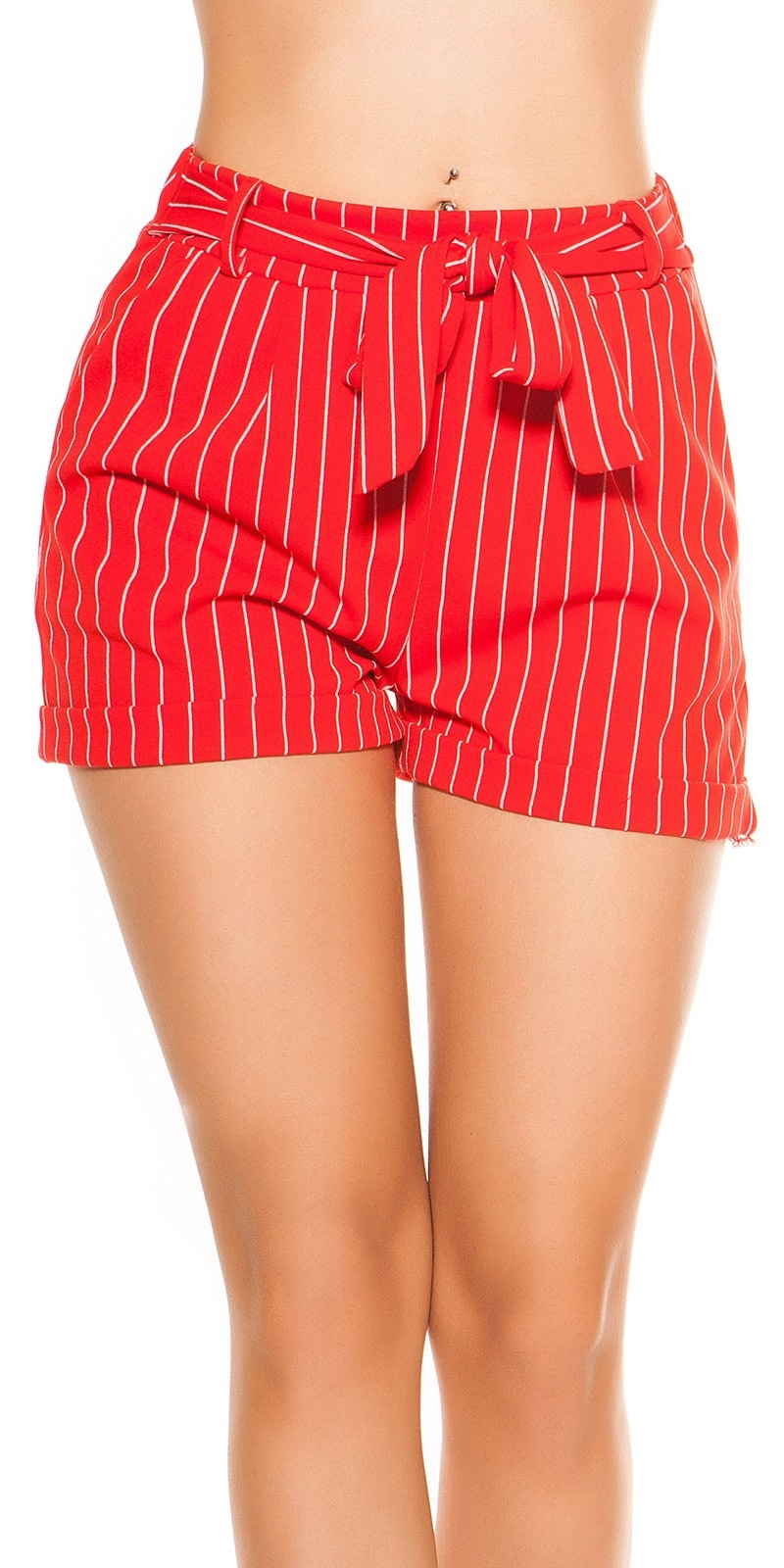 Sexy business look shorts striped with bow Red