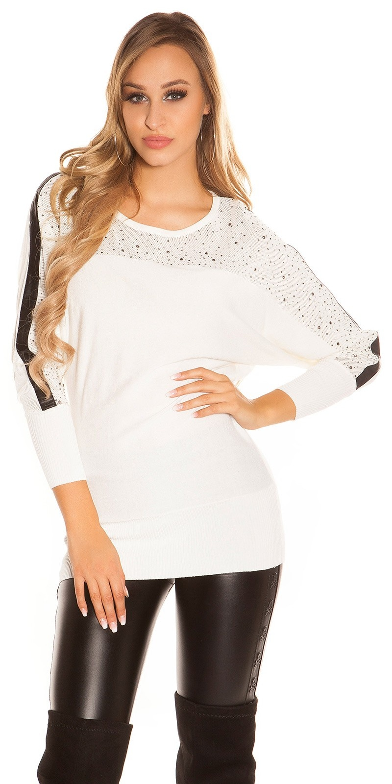 Sexy KouCla batwing pullover with leather look White