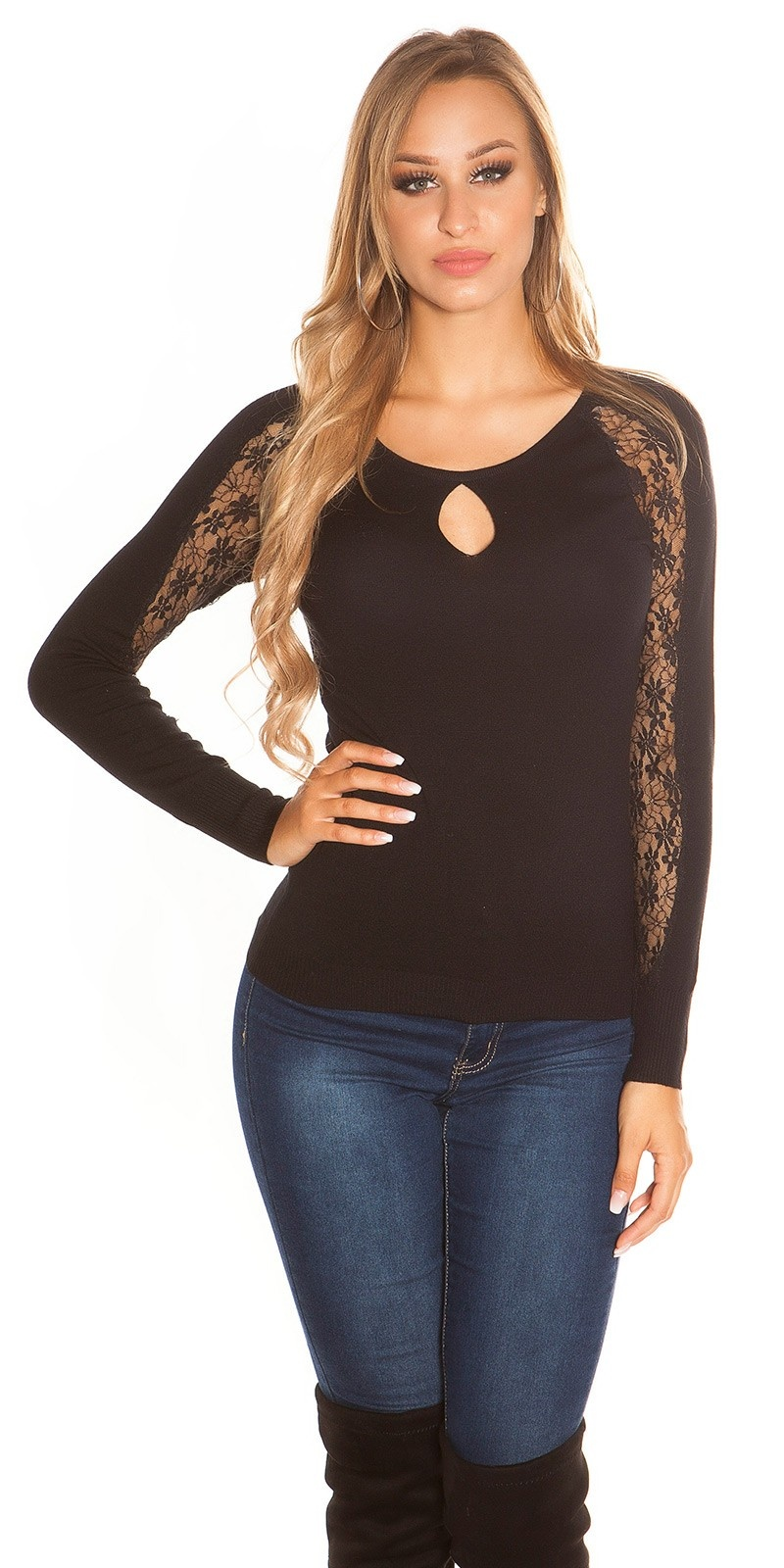 Sexy sweater-trui met kant op de mouwen zwart