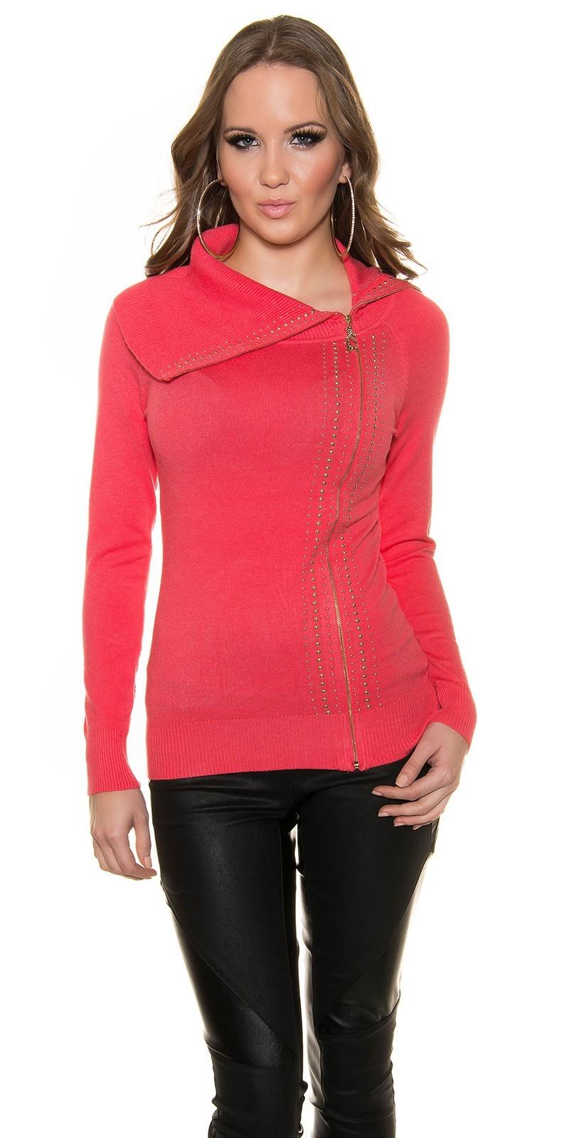 Trendy col-pullover koraal-kleurig