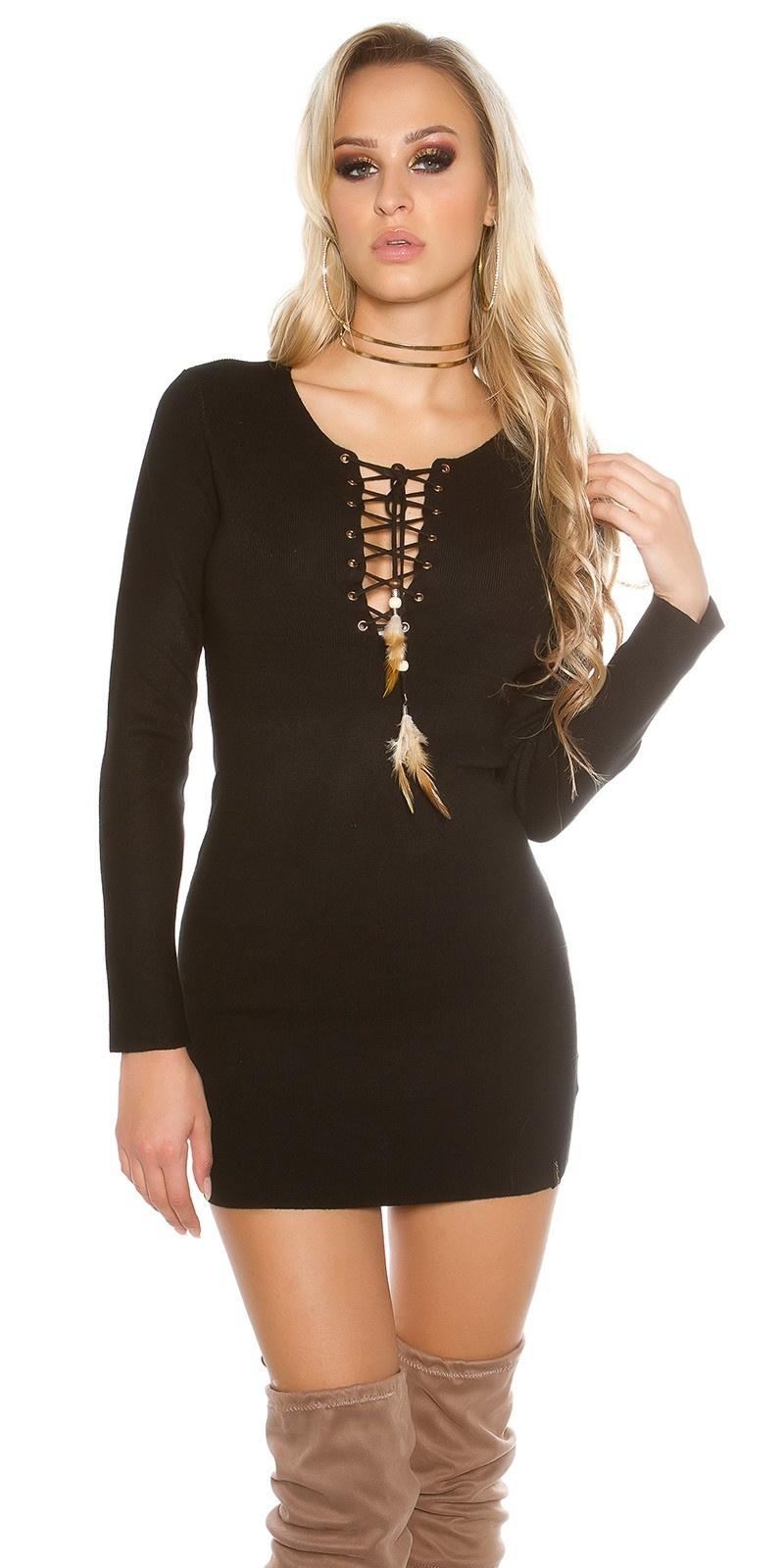 Gebreid mini-jurk met sexy decollet? zwart