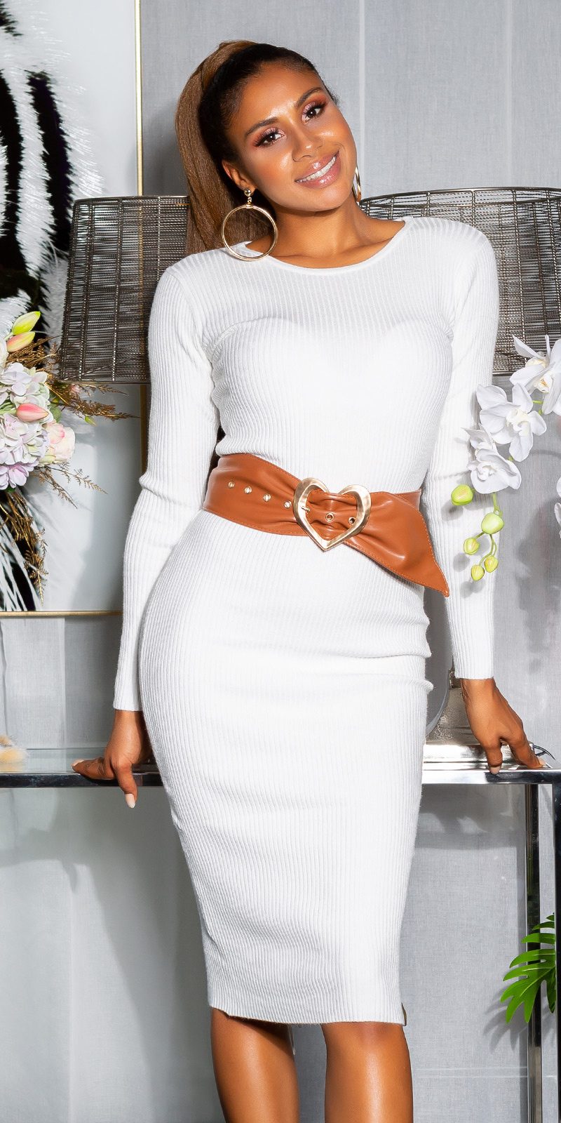 Sexy KouCla ribbed knit dress with lacing White
