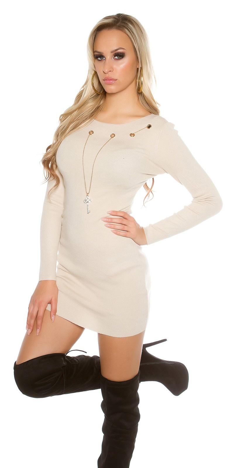 Gebreide jurk met afneembare ketting Beige