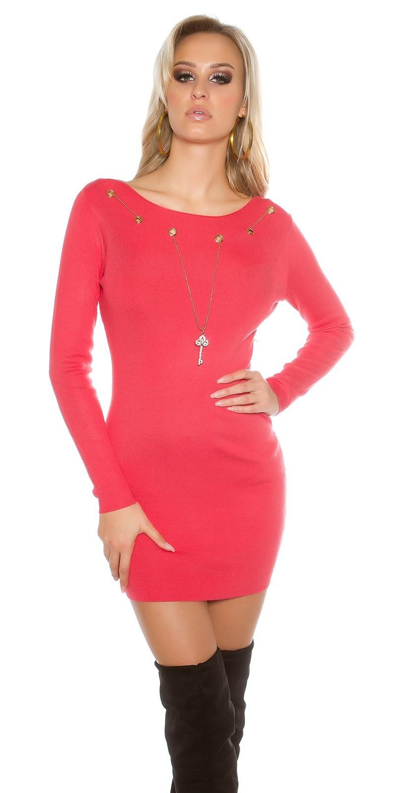 Gebreide jurk met afneembare ketting Koraal