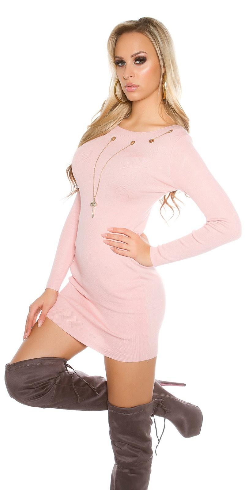 Gebreide jurk met afneembare ketting roze