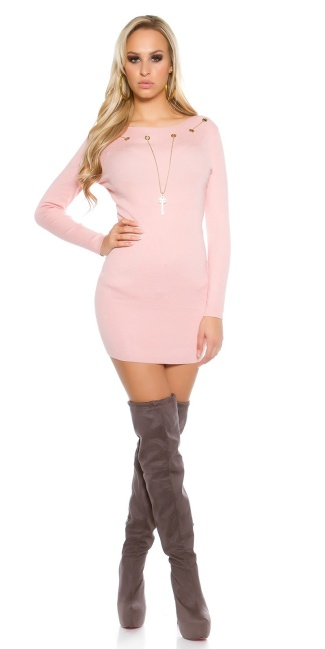Knitted dress with detachable chain Pink