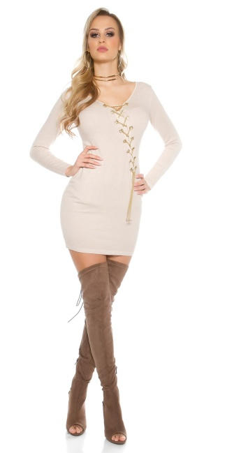 Knitted dress with decoration chain Beige