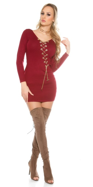 Knitted dress with decoration chain Bordeaux